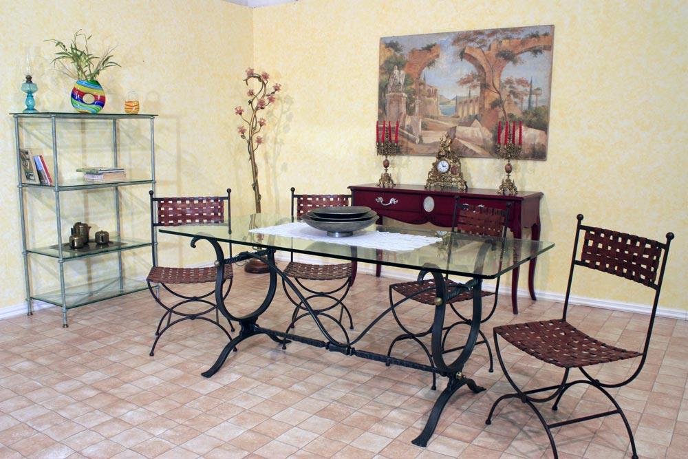 Tavolo da pranzo in ferro battuto idee creative su - Tavolo ferro battuto e vetro ...